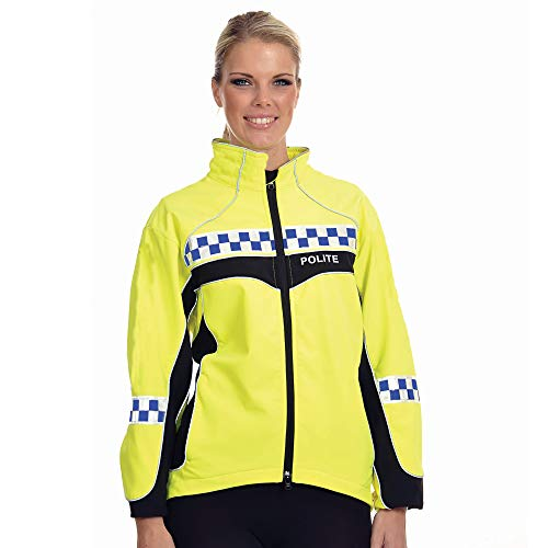 Equisafety Polite 2019 Lightweight Hi-Vis Waterproof Jacket-Plain Back, Accessori Equestri Unisex-Adulto, 2019-Giacca Leggera Impermeabile, S