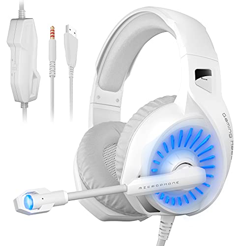 ONFINIO Gaming Headset PC Headphone with Surround Sound Stereo, PS4 Headset with Noise Canceling Mic & LED Light,Compatible with PC PS4 PS5 Xbox One Laptop Mac Phone Tablet