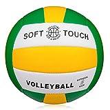 Ballon de Volley,Ballon de Beach-Volley Soft Touch pour Adultes et Enfants,pour Intérieur/Extérieur,Taille Officielle 5 (Size 5, Vert/Jaune/Blanc)