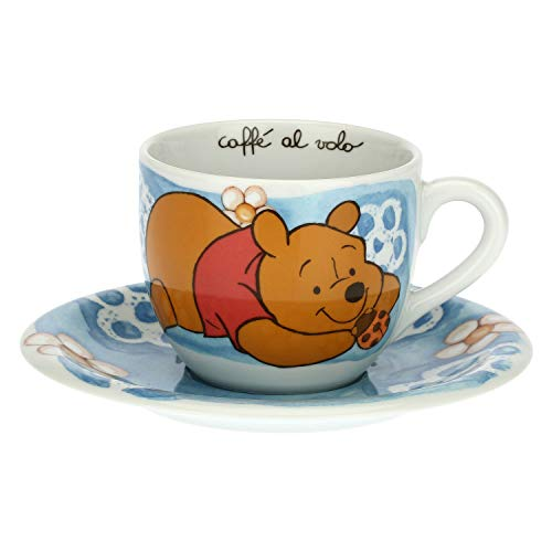 THUN - Tasse hellblau mit Marienkäfer Glücksbringer - Küche, Kaffeetassen im Flug - Geschenkidee - Disney® Winnie The Pooh - Porzellan - Tasse 400 ml; Ø 10,5 cm; 8,7 h cm; Untertasse Ø 18 cm