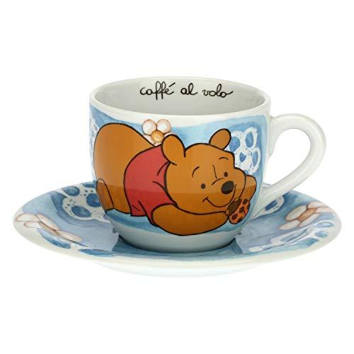 THUN - Taza azul con mariquita de la suerte - Cocina, tazas café al vuelo - Idea regalo - Línea Disney Winnie the Pooh - Porcelana - Taza 400 ml; Ø 10,5 cm; 8,7 h cm; Plato Ø 18 cm