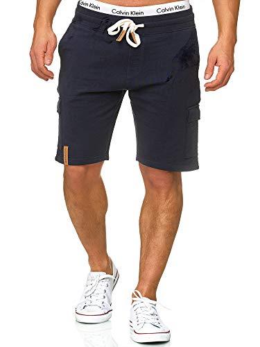 Indicode Herren White Rock Cargo Sweatshorts m. 5 Taschen aus 100% Baumwolle | Kurze Hose Cargo Shorts Militär Camouflage Sporthose Army Freizeithose für Männer Navy L