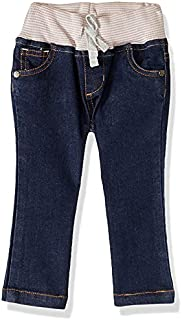 Giggles High-Rise Contrast Elastic Waist Front-Tie Side-Pocket Jeans for Girls