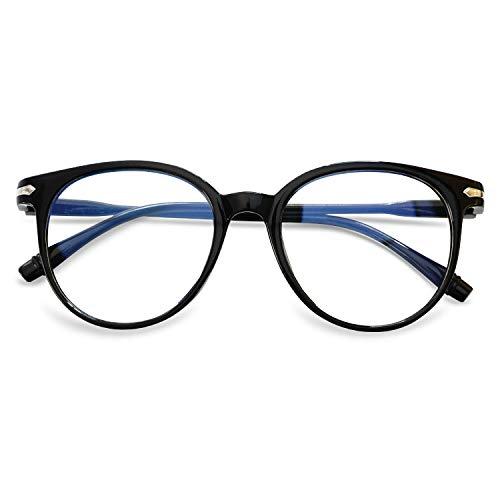 KOOSUFA Blaulichtfilter Brillen Anti Blaulicht Brillen Ohne Sehstärke Damen Herren Computer Gaming Brillen Anti Müdigkeit Leicht Retro Brillengestelle mit Etui (Helles Schwarz)