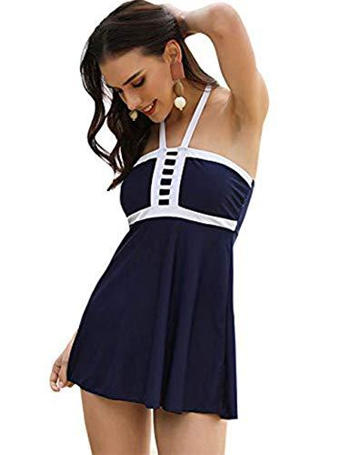 FeelinGirl Damen Neckholder Push Up Badekleid Figurformender Badeanzug mit Röckchen Bauchweg Einteiliger Badekleid XXL Blau
