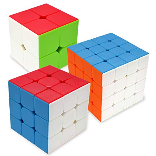 Maomaoyu Cubo Magico Pack, Speed Cube 3x3+2x2+4x4, Cubo de la Velocidad Sin Pegatinas Caja de Regalo de 3 Piezas Set (Stickerless)