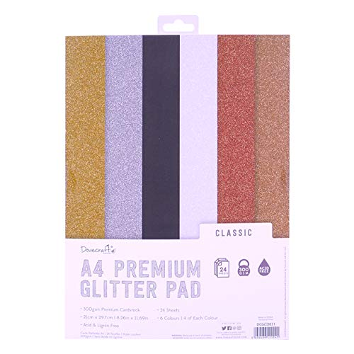 Dovecraft A4 Glitter Card Pad – 24 Sheets – Non-shed – 300GSM – 6 Colours - Gold, Silver, White, Black, Copper & Rose Gold - for Scrapbooking, Card Making, Home Décor, Party Crafts