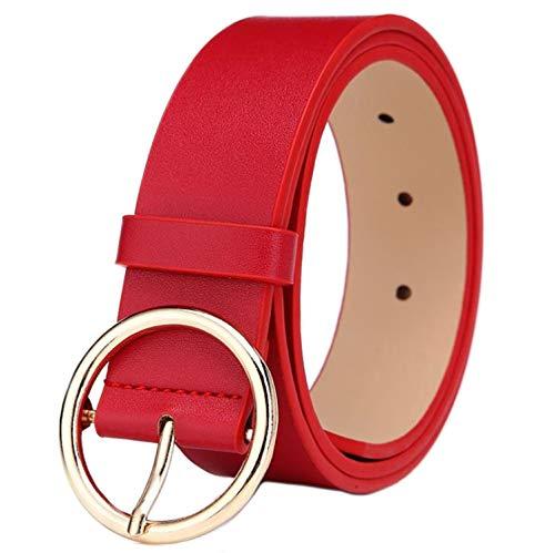MESHIKAIER Fashion Donna Cintura in Pelle PU Casual Cintura Jeans Pantaloni Cintura + Tondo Fibbia in Metallo (Rosso)