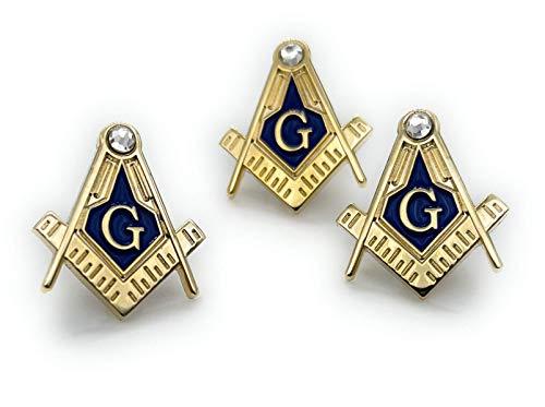 3pcs Freemason Square and Compass with rhinestone lapel pin Masonic blue lodge Master Mason 3rd degree
