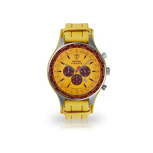 DETOMASO Firenze SUPER XXL Herren-Armbanduhr Chronograph Analog Quarz Lederarmband - Jetzt mit 5 Jahre Herstellergarantie (Leder - Gelb)