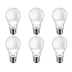 Philips A19 LED light bulbs with Warm Glow Effect provide 800 lumens of soft white light, equivalent to 60-Watt incandescents. These bulbs fit standard medium base (E26) fixtures with the look and feel of a classic bulb. Not for use with Philips HUE ...