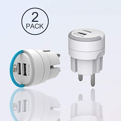UCOMEN Mini Steckdose mit 2.4A USB 2 Ports, Netzteil USB Stecker, USB Ladegerät, Blau und Grau-2er Pack