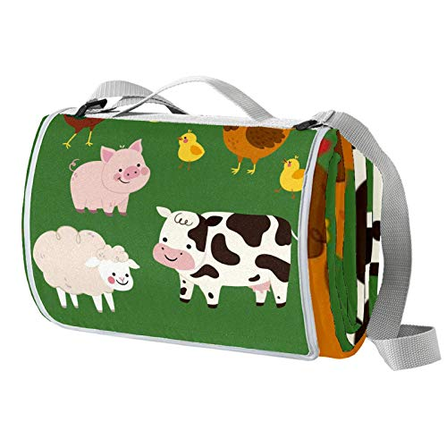 engshizilvbaihuo Manta de picnic grande para camping, a prueba de arena, impermeable, para viajes, al aire libre, para familia, conciertos, playa, parque, granja, animales, verde