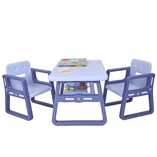 Kids Table and Chairs Set - Toddler Activity Chair Best for Toddlers, Reading, Train, Art Play-Room (2 Childrens Seats with 1 Tables Sets) Little Kid Children Furniture Accessories Purple