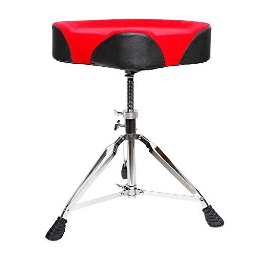 MCRDAE Drum Hocker, Drum Seat, Padded Drum Sitz Drehbare Höhenverstellbarer Trommeln Hocker mit Anti-Rutsch-Füße for Schlagzeuger, Percussion, Keyboard, Klavier-Spieler 68 (Color : A(Black Red))