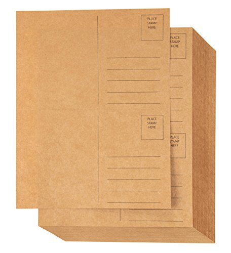 Blank Postcards - 100-Sheet Kraft Paper Postcards, Self Mailer Mailing Side Postcards, 2 Per Page 200 Cards in Total, Perforated, 5.5 x 8.5 Inches