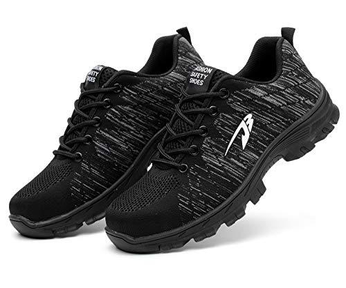 [Junshide] 安全靴 メンズ 作業靴 レディース つま先 足裏保護 登山靴 防滑 通気性 耐摩耗 耐油性 クッション性 鋼製先芯 セーフティーシューズ スニーカーのように履き心地 ブラック 27.0cm