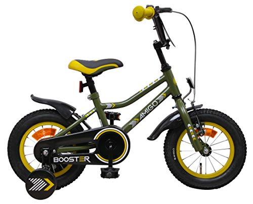 Amigo Booster - Kinderfahrrad für Jungen - 12 Zoll - mit Handbremse, Rücktritt, Lenkerschutz und Stützräder - ab 3-4 Jahre - Grün