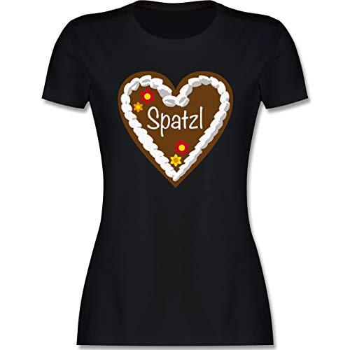 Kompatibel mit Oktoberfest Damen Trachtenshirt - Lebkuchenherz Spatzl - L - Schwarz - Tshirt Lederhose - L191 - Tailliertes Tshirt für Damen und Frauen T-Shirt