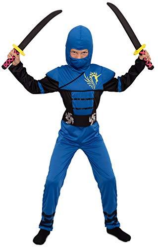 Magicoo Ninja Kostüm Kinder Jungen Gr 92 bis 140 Blau - Fasching Kinder Ninja Kostüm für Kind (110/116)