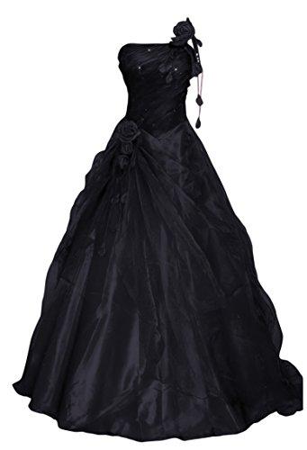Romantic-Fashion Damen Ballkleid Abendkleid Brautkleid Lang Modell E232 A-Linie Blüten Perlen Pailletten DE Schwarz Größe 46