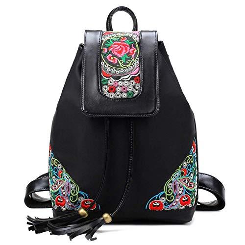 abaría - Mochilas tipo casual con bordados flores bolso mujer universidas mochilas...