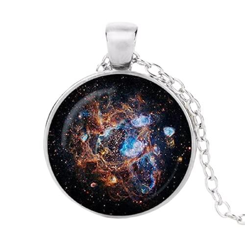 Collar con colgante de Nebulosa con cadena redonda antigua, collar de cristal y cabujón