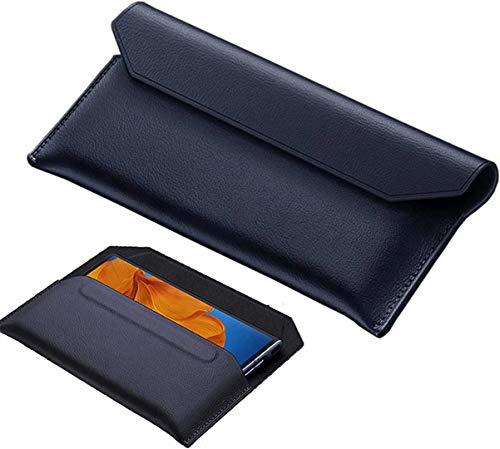 FanTing Capa de couro premium para Samsung Galaxy Z Fold 2, capa flip magnética, capa de couro genuíno, capa para Samsung Galaxy Z Fold 2. Azul escuro