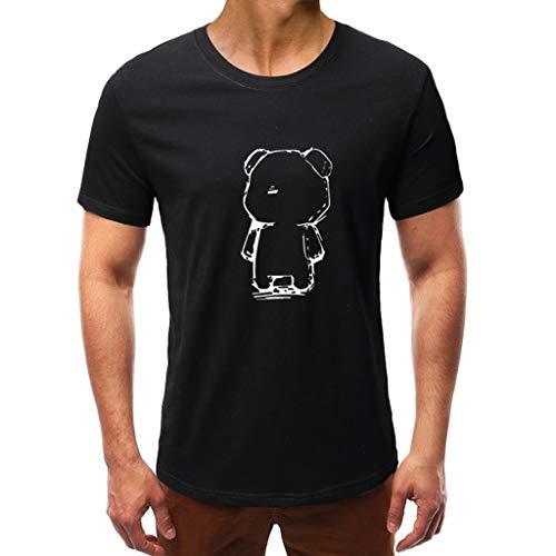 T-Shirt Für Herren,Skxinn Männer Sommer Kurzarm Rundkragen Drucken Slim Fit Sport Tops Mode Shirts Sweatshirt Hemd Casual Oberteile Loose Bluse S-3XL Ausverkauf(Schwarz-2,X-Large)