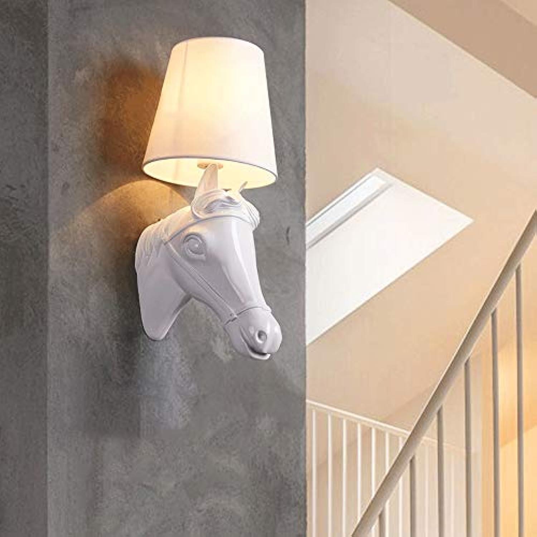 LLYU Europa Wandlampe für Tiere Nachttischlampe Schlafzimmer Postmodern Kreativitt Persnlichkeit Einfacher Radius Treppen Wohnzimmer Bar Wandleuchte (Farbe   Weiß-b)