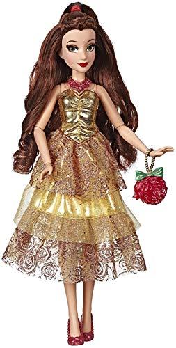Hasbro Disney Prinzessinnen E83985X0 Hasbro Disney Prinzessin Style Serie, Belle Modepuppe, mit glitzerndem gelben Kleid, Handtasche, Schuhen und Halskette, für Mädchen ab 6 Jahren