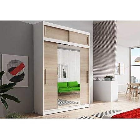 E-MEUBLES Armoire de Chambre avec 2 Portes coulissantes + avec Espace de Stockage supplémentarie + Miroir | Penderie (Tringle) avec étagères (LxHxP): 150x245x61 LARA 01 (Blanc + Sonoma)