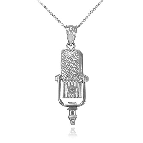 Recording Microphone Music Studio Necklace 925 Sterling Silver, 16