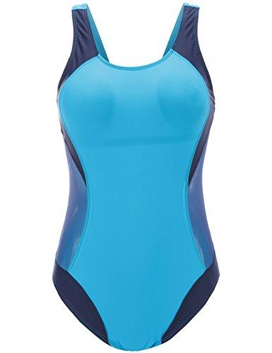 Mona's Secret Damen-Bademode mit Aussparung, einteilig, Sportfarben - Blau - Large