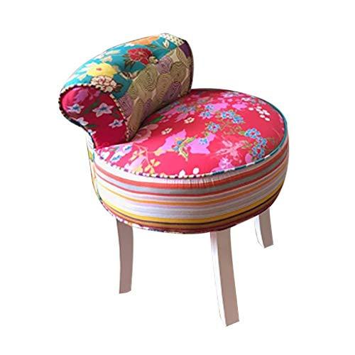 LSLMCS Ottoman Fußablage Hocker Rückenlehne Stuhl Vintage-Patchwork Verschönerte Mit Patchwork-Leben Sun Chair Sitz Mit 4 Beinen Aus Holz for Kinder Oder Erwachsene (Color : Natural)