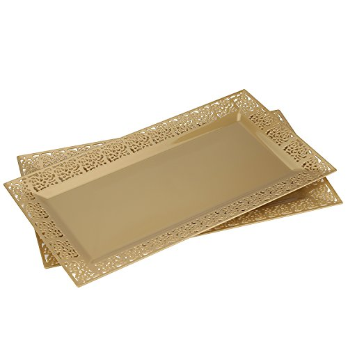 Silver Spoons and More lace Rim 14quot x 75quot Heavyweight Plastic Set of 2 Serving Trays gold