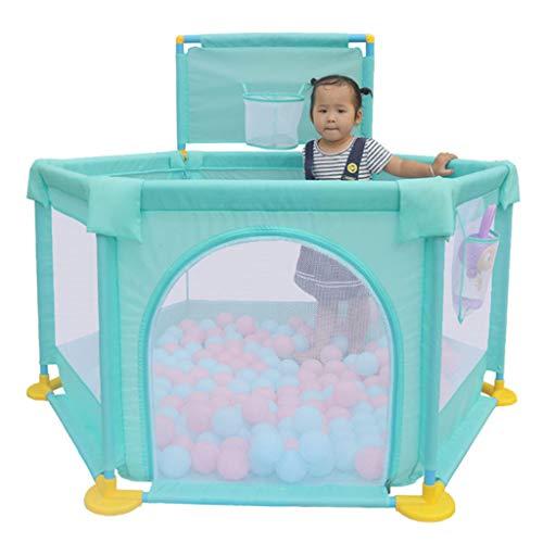 Ball Pit Tent Playpen Speeltuin met Mini Basketball Hoop Ademend Gaas en 100 Ocean Balls, Draagbaar Binnen Buiten en Parken Grote Geschenken voor Babies Baby Peuter Kids groen