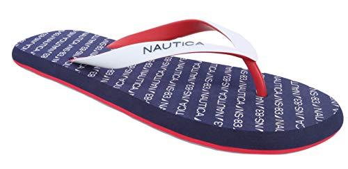 Nautica Men's Del-Ray 2 Flip Flop, Rubber Thong, Beach Sandal-Navy Logo-13