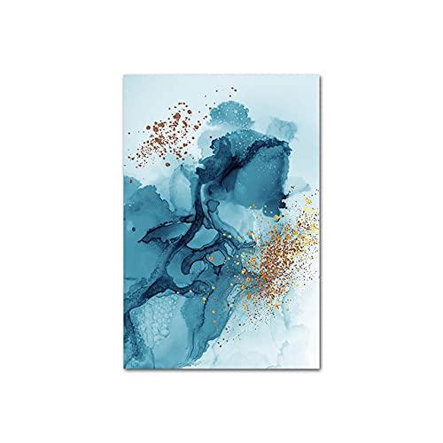 xinxinxiangrong Cartel de Pintura de Lienzo de Tinta de Acuarela Azul Abstracta, impresión Minimalista Moderna, Imagen de Arte de Pared, decoración del hogar A83 50 × 70 CM sin Marco