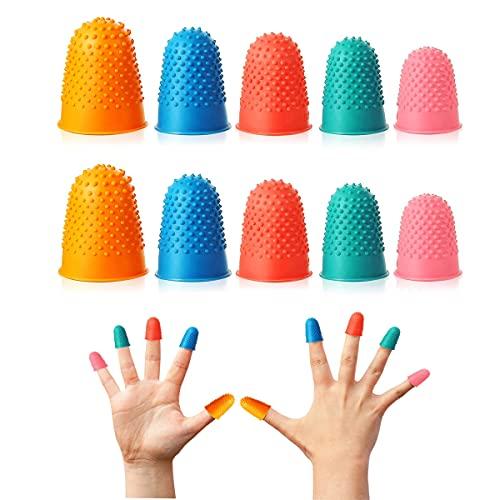TSKDKIT 10 piezas de dedales de goma de goma reutilizables protectores de dedos de los...