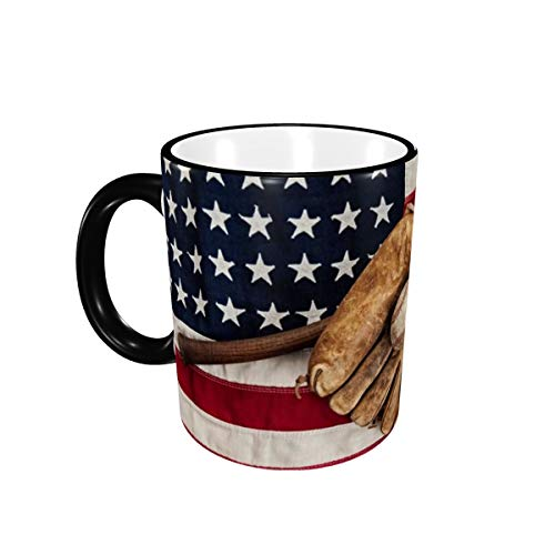 Vintage Baseball With Flag Ceramic Coffee Mug Unique Best Gifts Microwave and Dishwasher Safe Funny Tea Cup 12oz