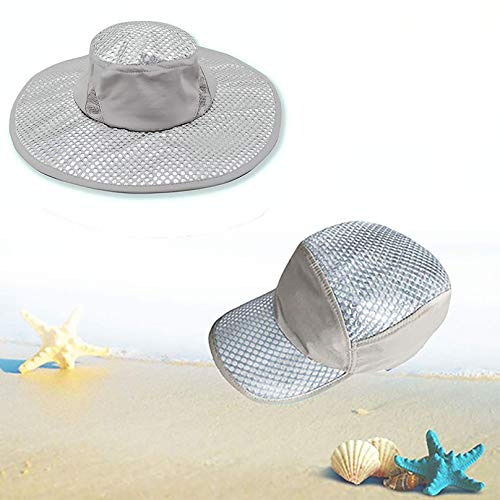 Wipkal 2 Pcs New Cooling Hat Ice Hat Wide Brim Cap, Summer Sun Hat Sunscreen Cooling Air Conditioning Cap Ice Cap Towel UV Protection for Women Men Light Gray