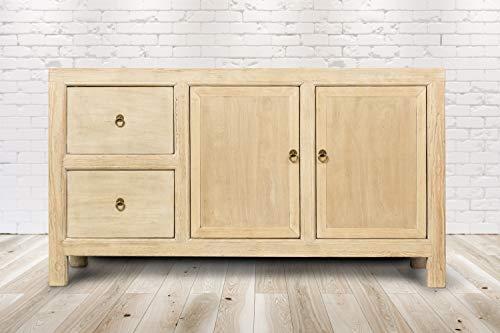 Trade-Line-Partner Cómoda vintage Faro Bege (estante, cajón, mueble de madera, hecha a mano) 154 x 41 x 85 cm
