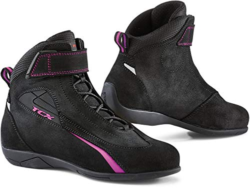 Botas de moto negras y rosa