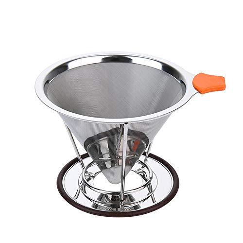 DENGDENG コーヒードリッパー コーヒーフィルター コーヒードリップ コーヒーメーカー 紙と布フィルタ不要 茶やコーヒーを漉す ステンレス製 ペーパーレス 2層メッシュ 分体式 ブラシ付き 繰り返し使用 1?4杯用