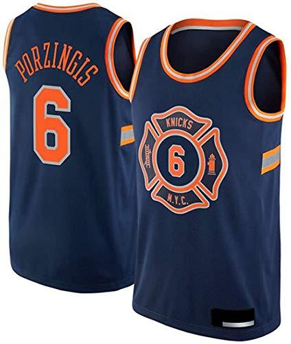 XSJY Jersey De Baloncesto De Los Hombres - NBA New York Knicks # 6 Kristaps Porzingis Secado Rápido Chaleco De Entrenamiento Uniforme Jersey, Transpirable Y Sudorable,C,XXL:185~190cm/95~110kg