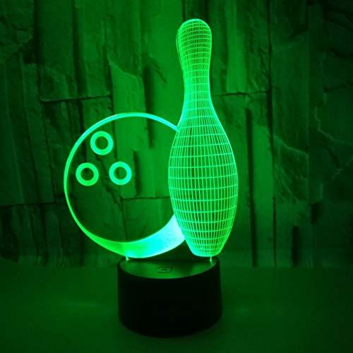 Yujzpl 3D Illusion Lampe Led Nachtlicht Mit 7 Farben Flashing & Touch-Schalter,Für Schlafzimmer Kinder Weihnachts Valentine Geburtstag Geschenk[Energieklasse A++]Bowling