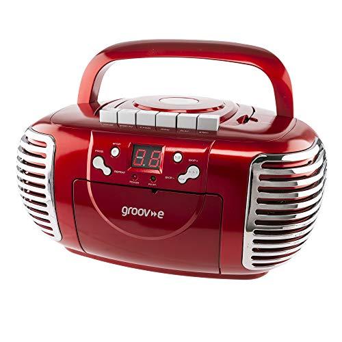 Groov-e Retro Boombox CD Player with Cassette, AM &FM Radio Tuner, 3.5mm...