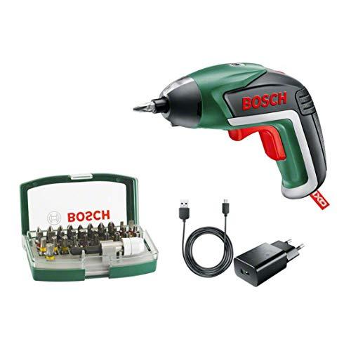 Bosch 06039A800S - Atornillador a batería Ixo 32 puntas Batería de litio integrada 3,6 V 1,5 Ah Luz Powerlight Máx pro Apriete 4,5 Nm 215 U/min in vacío, mehrfarbig