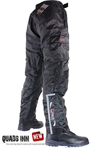 Qtech wasserdichte Motorradhose mit Isolierten Schicht Überhose Überhosen Schwarz - langes Bein - 3XL - Taille 50